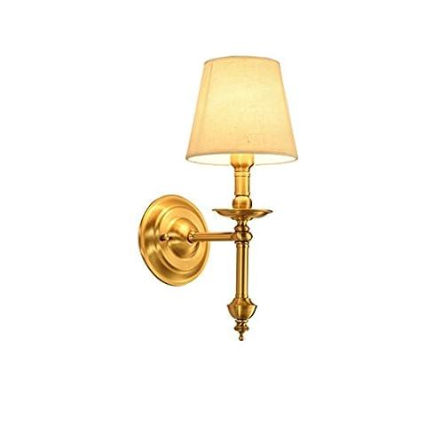 GJY Applique Murale Applique Tous Cuivre Mur Chambre Chevet Lampe Allée Petite Applique Salon Simple Jane Européenne Mur Lampe