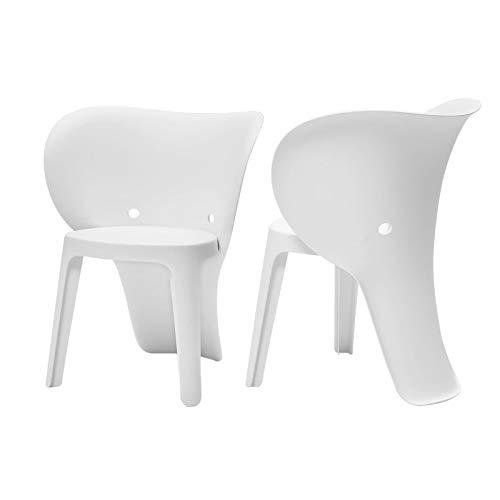SoBuy KMB12-Wx2 Lot de 2 Chaise Enfant Design Chaise pour Enfants Siège Garçons et Filles Confortable Éléphant Blanc - Haute Qualité