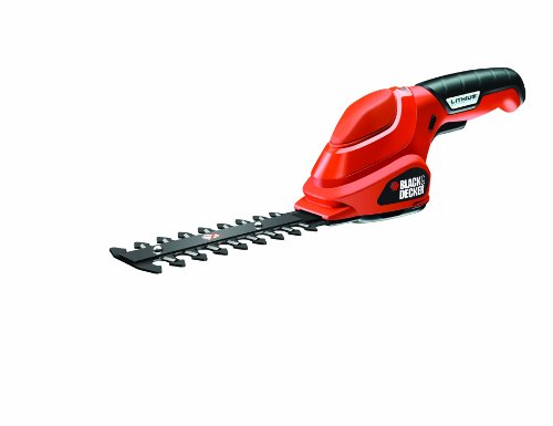 Black&Decker GSL300 - Tijera cortasetos, litio, 3.6V, 8h, 600 gr, color rojo