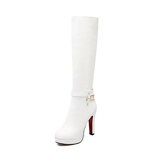 AllhqFashion Damen Mitte-Spitze Ziehen auf Weiches Material Hoher Absatz Rund Zehe Stiefel, Weiß, 38