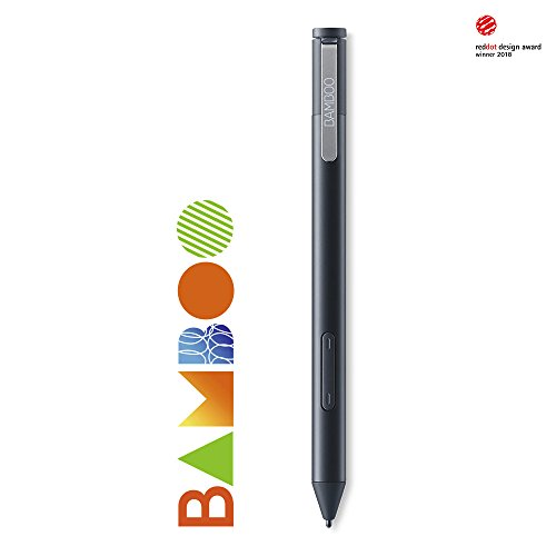 Wacom Bamboo Ink Eingabestift in Schwarz für kreatives Arbeiten und Schreiben an Windows-10 Geräten | Aktiver Touch Pen zum Zeichnen und Schreiben für Alltag, Büro oder Uni