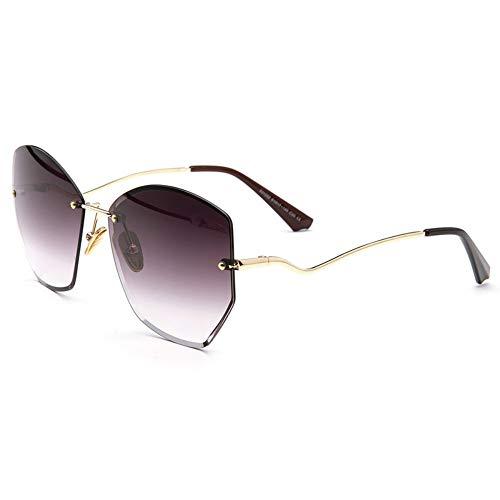 Sonnenbrille,Klassische Mode Unregelmäßige Rahmenlose Damen Sonnenbrille Metall Frauen Männer Mode Klare Meer Kontaktlinsen Sonnenbrille Uv400 Kaffee
