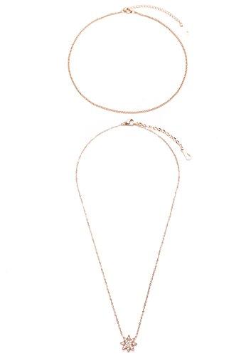 Happiness Boutique Damen Choker und Kette mit Stern Anhänger in Roségold | 2 Halsketten im Zarten Design Edelstahlketten (Besten Duo Kostüme 2017)