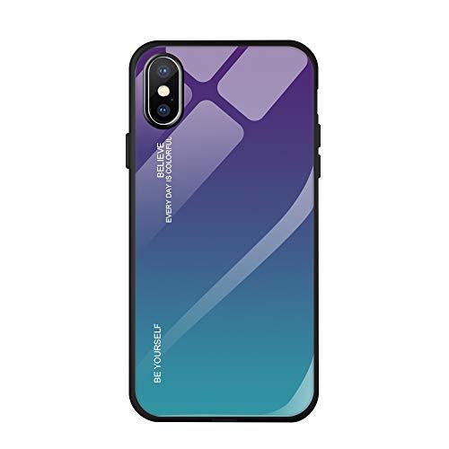 Bigbigjk Hülle Kompatibel mit Apple iPhone XR Hülle Case, Farbverlauf Glas Schlank Dünn Mirror Cover Spiegel Bumper Case Stoßfest Schutz Handyhülle für Apple XS MAX (3, iPhone XS)