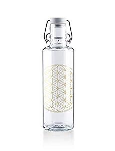 Soulbottles 0,6l Trinkflasche aus Glas • Verschiedene Designs, Made in Germany, vegan, plastikfrei, Glastrinkflasche, Glasflasche (Flower of Life • Blume des Lebens)