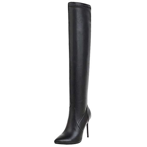 YE Damen High Heels Overknee Stiefel Stiletto Spitz Langschaft Stiefel mit 10cm Absatz Elegant Winter Schuhe(Schwarz,38)