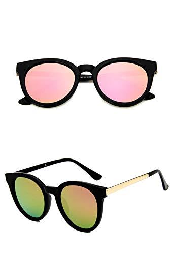 WWVAVA Sonnenbrillen Mode transparente Brille Frauen rosa Sonnenbrille Runde Rose Gold Rahmen Silber Objektiv Brille Vintage Farbe Spiegel Gläser, c6