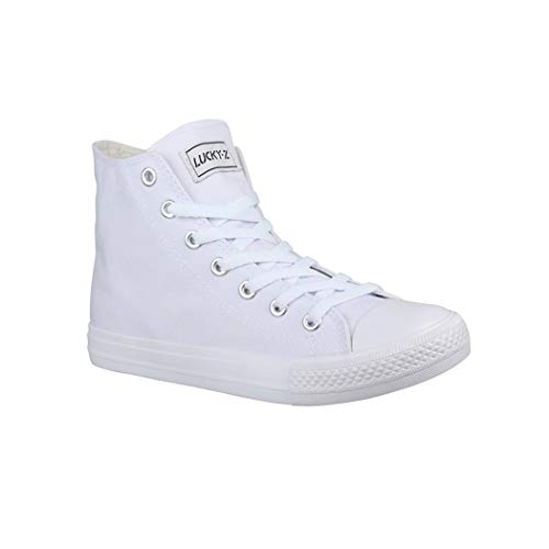 Elara Unisex Sneaker | Bequeme Sportschuhe für Damen und Herren | Low top Turnschuh Textil Schuhe CA014/CB019 AllWhite 38 (Gelbe High Top Converse)