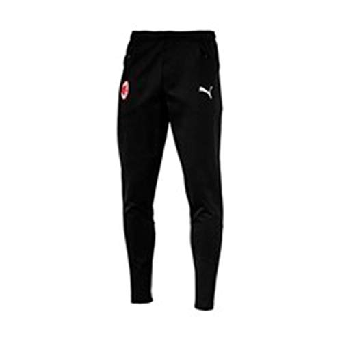 Puma AC Milan Casual Performance Sweat Zipped Pockets Pantalones, Hombre, Black/White, L