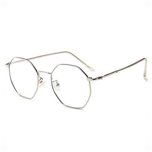UICICI Polygonal Metall Brillengestell Optische Brillen Nicht verschreibungspflichtige Brillengestell für Damen (Farbe : Silver)