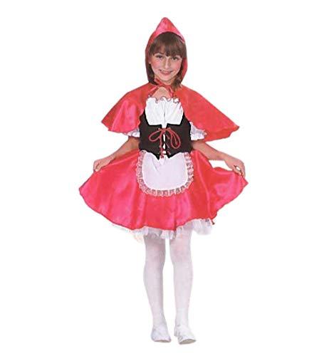 KarnevalsTeufel Kinderkostüm Rotkäppchen 2-tlg. Kleid und Cape in schwarz-weiß-rot Märchen Verkleidung (104)