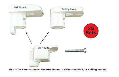 Texecom Pir Brackets for Premier Elite Pirs - Includes Wall and Ceiling Mounts and Cable Management Channels (5) Premier Mounts Ceiling Mount