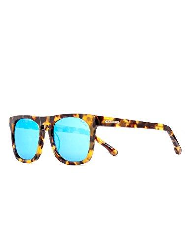 Vestal Damen-Satelliten Sonnenbrille one size schwarz und gold Chunky deliktrechts/blau verspiegelt