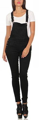 10026 Fashion4Young Damen Latzhose Latzjeans Röhrenjeans Jeans Hosenträgern Overall (M/38, schwarz)