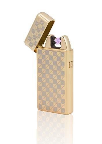 TESLA Lighter T05 Lichtbogen Feuerzeug, Plasma Double-Arc, elektronisch wiederaufladbar, aufladbar mit Strom per USB, ohne Gas und Benzin, mit Ladekabel, in Edler Geschenkverpackung, Gold kariert