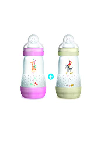 Mam - Set di biberon anti coliche, 260 ml, 0 - 6 mesi, flusso tipo 2, colore: Rosa e bianco , 2 pz.