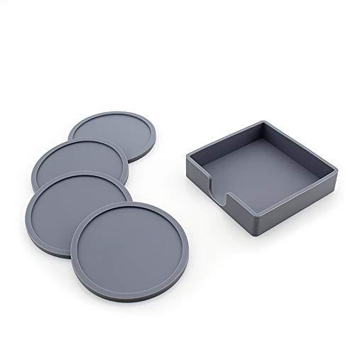 ZUEN Premium-Qualität Getränk Untersetzer, heißer Silikon Tee Grip Coaster Inhaber Supreme Medical Grade Silikon Moderne dick dicht,Gray - Pub Coaster Set