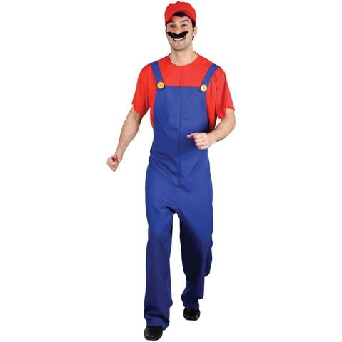 Adult Men's Funny, Super Red Plumber Bros, Mario Style Fancy Dress Costume - Mens Large