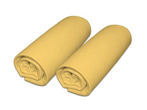 Lot de 2 draps housse pour matelas 60x120cm (Jaune)