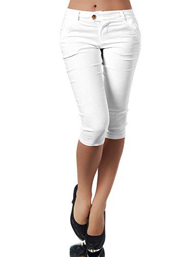 Diva-Jeans Damen Caprihose Treggings Leggings Stoffhose Sommerhose Knielang 3/4 Capri N827, Farben:Weiß, Größen:S - Weiße Stretch-capris
