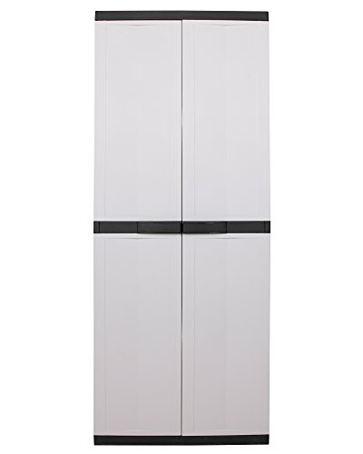 Ondis24 geräumiger Kunststoffschrank Spind Terrassenschrank Besenschrank Trend 2-türig grau schwarz