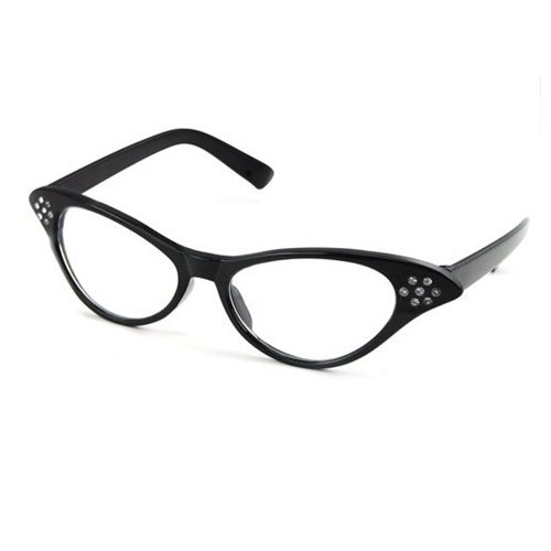 SODIAL(Wz.) 50er 60er Jahre Fett Katzenauge Glaeser Cateye Brille Strass fuer Fancy Dress
