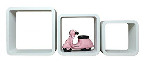 Set da scaffali–legno, bianco, retro–quadrato 28/24/20cm
