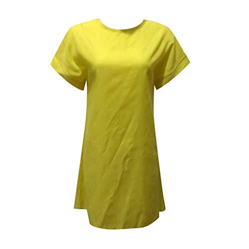XIUHHE Frauen Sommer Lässige Feste Kurzarm Kleid Mit Rundhalsausschnitt Leinen Kleid Frauen Sommer Kleid Vestidos Femininos Gelb XL - De Vestir Faldas