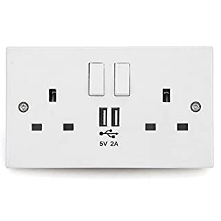 Wall Socket with USB Outlets/Double UK 13 Amp Plugs & Twin USB Charging Port/Free Micro USB Cable