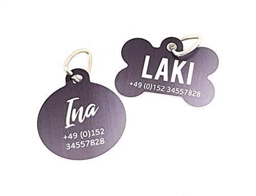 Halsbandanhänger I Adressanhänger I ID-Tag I Hundeanhänger I personalisiert mit Namen und Telefonnummer oder Adresse. Prima Idee als Geschenk