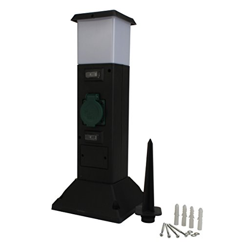 Unitec Steckdosenverteiler als Kunststoffsäule 2-fach, mit Leuchte, IP44