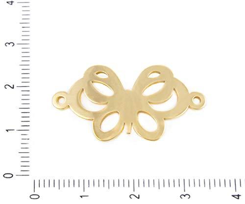 2pcs en Acier Inoxydable de l'Or Ton Papillon Bracelet Connecteurs d'Insectes de la Nature Hypoallergénique Pendentif Charms 2 dans le Trou du Collier de 31,5 mm x 16,5 mm