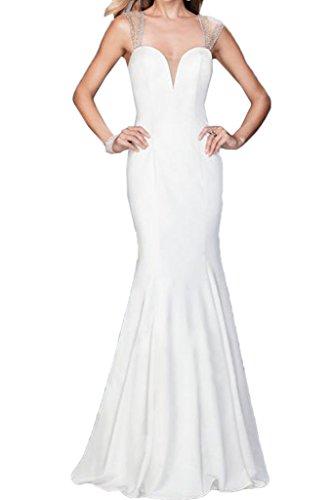 Ivydressing Damen Liebling Trager Mit Steine Rueckenfrei Etui-Linie Partykleid Promkleid Festkleid Abendkleid Weiß