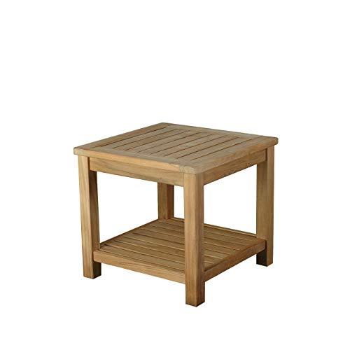 AMBIENTE-LEBENSART.DE Teakholztisch-Beistelltisch-Balkontisch-Sofa Tisch-Cocktail-Kaffee-Tisch-Blumen-Hocker 50x50cm viereckig -