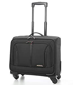 "Aerolite 18"" 4 Wheeled Laptop Bag Executive Business Bag Mobile Office Cabin Luggage Suitcase – Approved for Easyjet, BA & Jet2, Black"