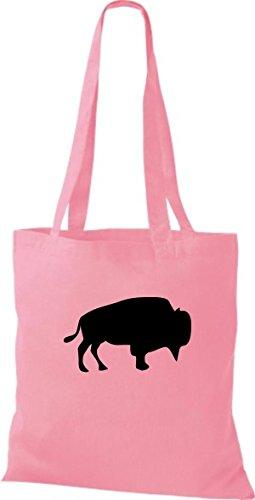 ShirtInStyle Stoffbeutel Büffel Baumwolltasche Beutel, diverse Farbe classic pink