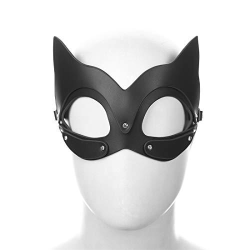 ze Maske Cosplay Zubehör Maske Sex Spielzeug Masked Masquerade Kostüm Maske für Paare Liebhaber Halloween Karneval Party (Color : Black, Size : Fox cat mask) ()