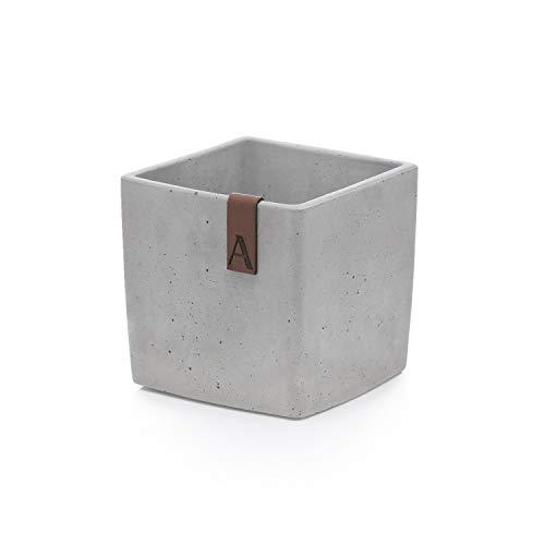 Amara Storage Collection Blumentopf Beton | 10cm x 10cm x 10cm | Handgefertigter Pflanzentopf Pflanztopf aus echtem Beton | Box-Farbton: Hellgrau