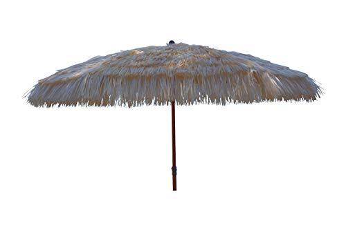 Maffei art 9 tulum, ombrellone rotondo diametro cm 280, ricoperto con rafia, made in italy