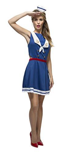 Smiffys 44531XS - Fever Damen Hey Seemann Kostüm, Größe: 32-34, blau (Halloween Schuhe Kostüm Seemann)