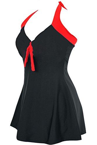 bacc4bf56436 Labelar Damen Schwimmenanzug Swimming Dress Badeanzug Neckholder Badekleid  Rock Große Plus Size Swimsuit Schwarz