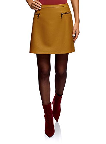 oodji Ultra Mujer Falda de Piel Sintética con Cremalleras Decorativas, Amarillo, ES 34 / XXS