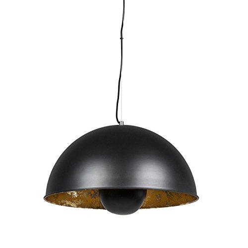 QAZQA Modern Halbrund Pendelleuchte,matt schwarz innen Gold / Messing