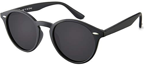 La Optica UV 400 Damen Herren Retro Runde Sonnenbrille Round - Einzelpack Matt Schwarz (Gläser: Polarisiert Grau)