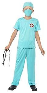 Smiffys Disfraz de Cirujano, Azul, con Top, Pantalones, Gorro, máscara y Estetoscopio