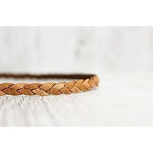 Haarband aus Echtleder – 3fach geflochten, in COGNAC.