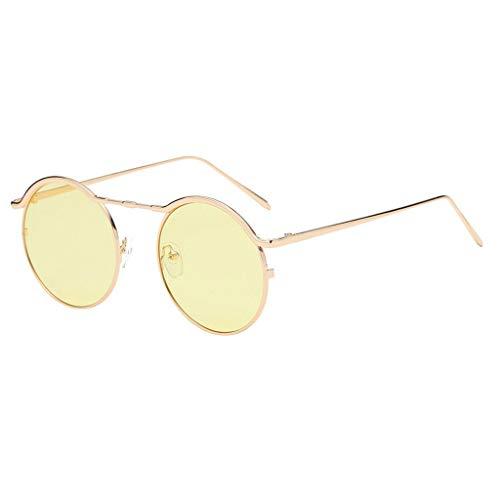 EUCoo Kleine Sonnenbrille Unisex-Mode Fein Metall Brillengestell Runde Sonnenbrille(C)