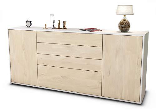 Stil.Zeit Sideboard Eleni/Korpus Weiss matt/Front Holz-Design Zeder (180x79x35cm) Push-to-Open Technik & Leichtlaufschienen
