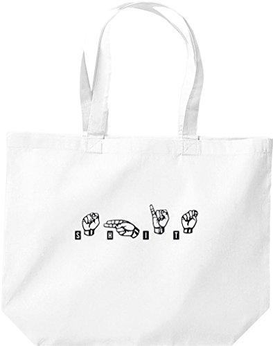 Shirtstown große Einkaufstasche, Zeichensprache SHIT, weiss
