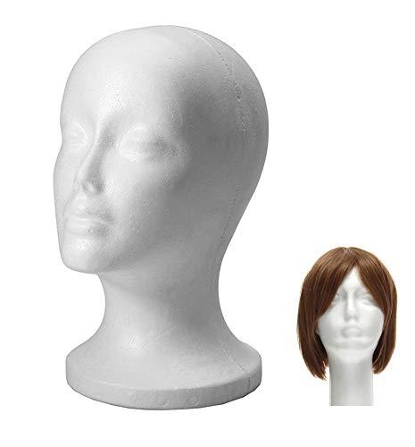 Xiton Perückenständer Styropor-Kopf männlich Ständer für Perücken Kopfhörer Mützen Modellkopf weiblich Styropor Kopf (weiß, 1 Stück)